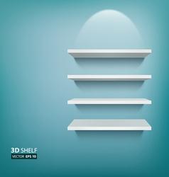 3D Empty white ehelf for exhibit on blue vector image