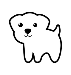dog canine young standing outline vector image vector image