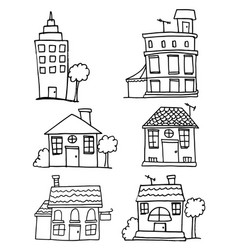 doodle of house and building set vector image