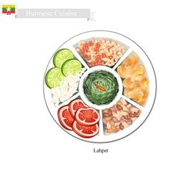 Lahpet or Burmese Pickled Tea Leaf Salad vector image vector image