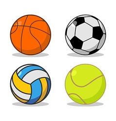 Sports ball set basketball and football tennis and vector