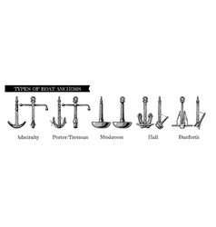 types of boat anchors vector image