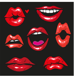 woman lip gestures set girl mouths close up with vector image vector image