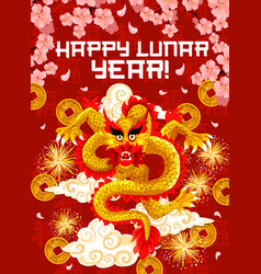chinese new year dragon and firework greeting card vector image