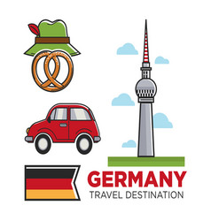 Germany travel destination promo banner with flag vector
