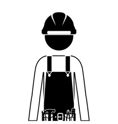 half body silhouette man worker with toolkit vector image vector image