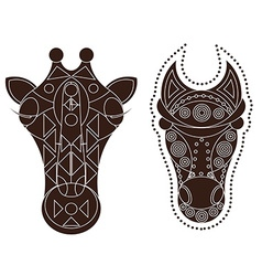 horse giraffe head decorated vector image