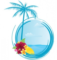 round summer banner with flowers vector image