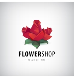 faceted roses flowers logo icon isolated vector image