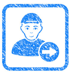 Following man framed stamp vector