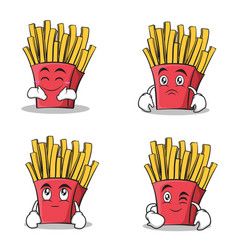 french fries cartoon character set collection vector image