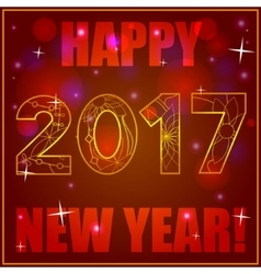 Happy New Year card on bokeh background vector image