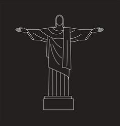 line icon of christ the redeemer rio de vector image
