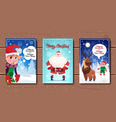 set of merry christmas and happy new year posters vector image vector image