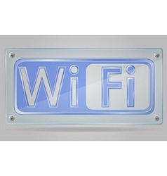 transparent sign wi fi on the plate 02 vector image vector image