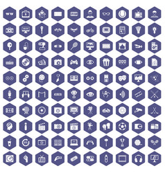 100 video icons hexagon purple vector image