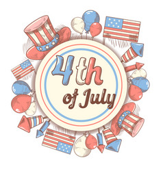 4th july usa independence day hand drawn design vector