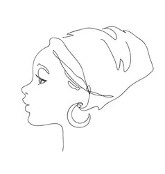 african young woman face silhouette vector image