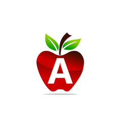 Apple letter a logo design template vector