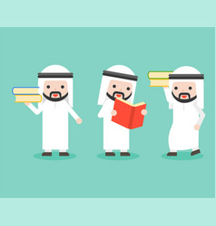 Arab businessman with book business character vector
