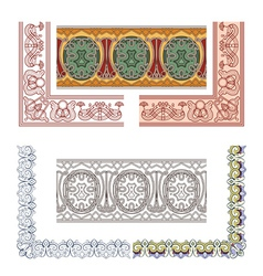 Art Nouveau seamless borders vector