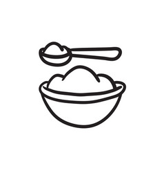 baby spoon and bowl full of meal sketch icon vector image