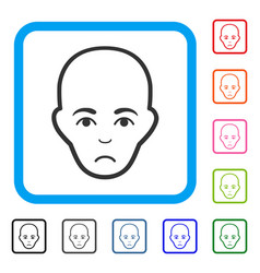 Bald head framed sad icon vector