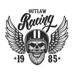 bearded skull in racer helmet with wings design vector image