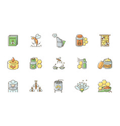 Beekeeping rgb color icons set vector