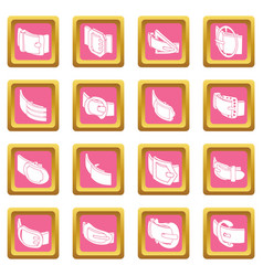Belt buckle icons set pink square vector