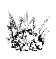 big explosion on ground hand drawn vector image