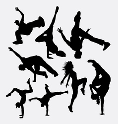 Breakdance performance silhouette vector