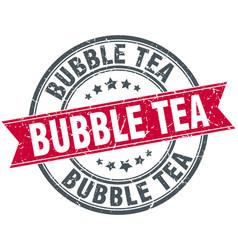Bubble tea round grunge ribbon stamp vector