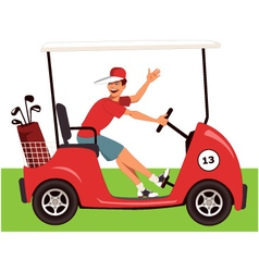 Caddy in a golf cart vector