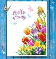 card with multicolor spring flowers vector image