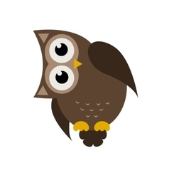 Cartoon brown owl icon vector