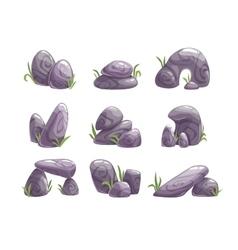Cartoon gray stones set vector