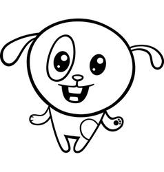 cartoon kawaii puppy coloring page vector image