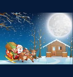 Cartoon santa claus riding his sleigh at chris vector