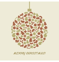 Christmas ball in retro style vector image