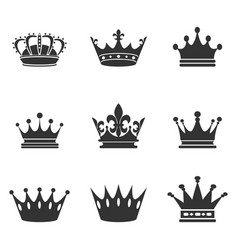 collection of crown silhouettemonarchy authority vector image