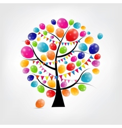 Color glossy balloons tree background vector