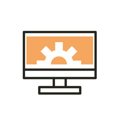 computer monitor setting web development icon line vector image