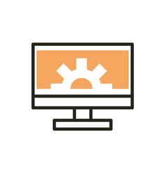 Computer monitor setting web development icon line vector
