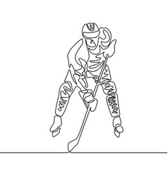 continuous one line hockey player winter sport vector image
