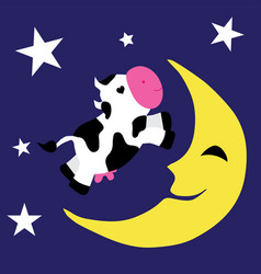 Cow over the moon vector