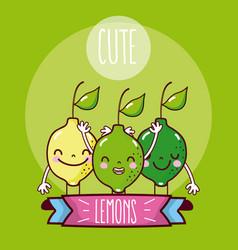 cute lemons fruits vector image