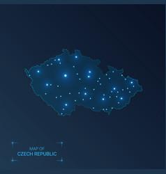 Czech republic map with cities luminous dots vector