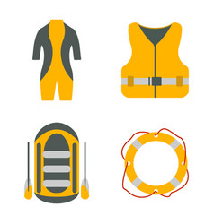 Diving suit life jacket raft lifebuoy flat icon vector