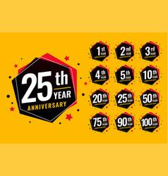 Event festive anniversary labels set vector